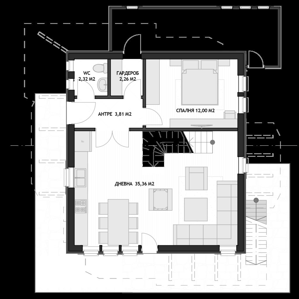 къща Сашо - 4 спални_ПАРТЕР
